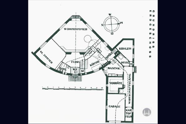 Bruno Taut, Blankenfelde - Mahlow. Grundriss des privaten Wohnhaus von Bruno Taut. Erdgeschoss.