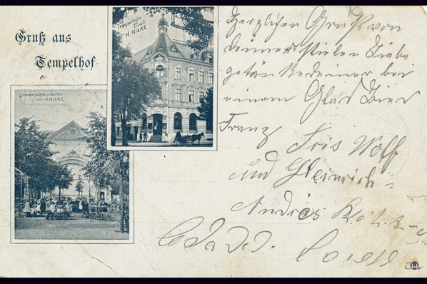 Das Tempelhofer Tivoli an der Friedrich - Karl - Straße. Der von Helmuth Nieke betriebene Biergarten des Tivolis.