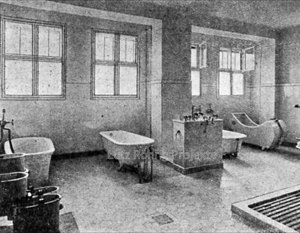 Die Kuranstalt Berolinum an der Lankwitzer Leonorenstraße. Historische Aufnahme des Baderaums im Kurhaus.