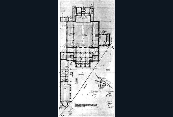 Grundriss der Synagoge Fraenkelufer.