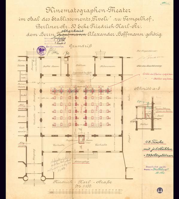 Das Tempelhofer Tivoli an der Friedrich - Karl - Straße. Bauzeichnung von 1911 zum Umbau der Großgaststätte in ein Kino.