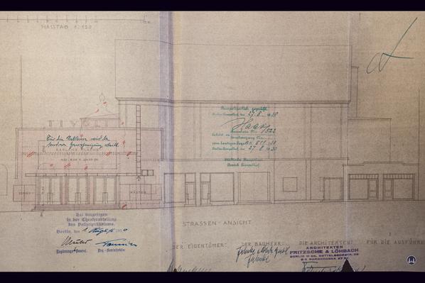 Das Tempelhofer Tivoli an der Friedrich - Karl - Straße. Fassadenriss des Kinos nach dem Umbau von 1930.