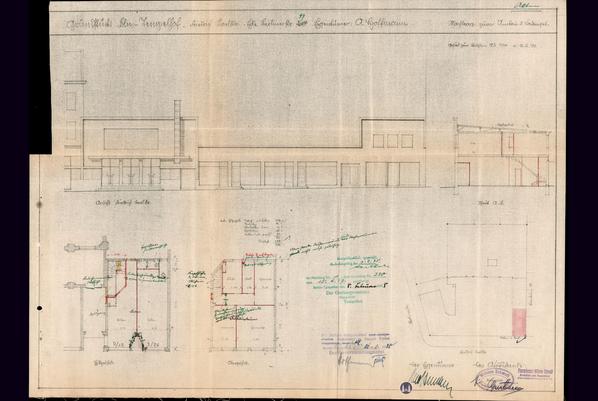 Das Tempelhofer Tivoli an der Friedrich - Karl - Straße. Planzeichnung der Aufstockung des rechten Saalanbaus.