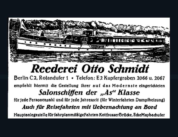 Anzeige der Reederei Schmidt Rolandufer 1.