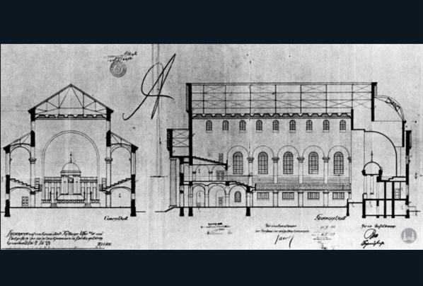 Querschnitt der Synagoge Fraenkelufer.