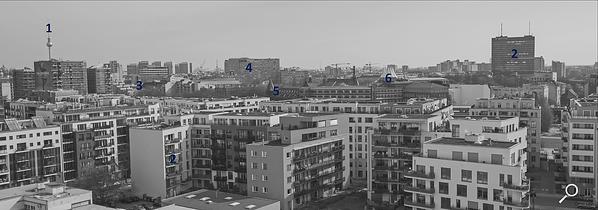 Dach der Lützowstraße. Erklärung der Gebäude 2