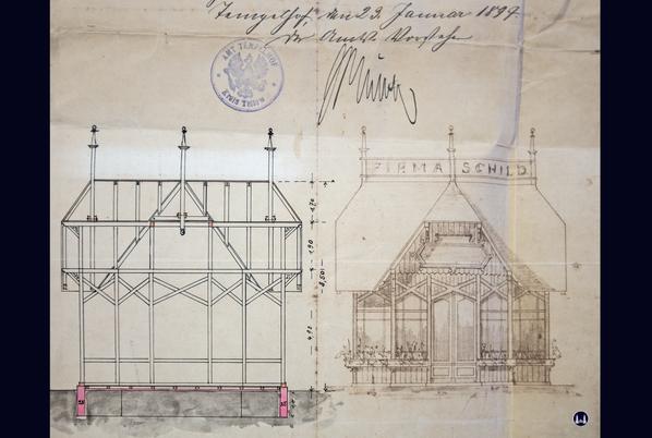 Zeichnung des Gartenpavillons des Tempelhofer Tivolis.