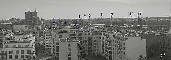 Dach der Lützowstraße. Erklärung der Gebäude 3