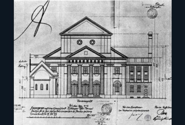 Fassadenriss der Synagoge Fraenkelufer, Frontansicht.