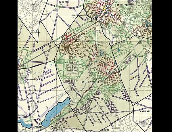 Stellwerk Lio in Berlin Lichterfelde - Ost. Karte der Anhalter Bahn.