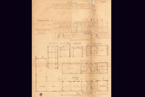 Das Tempelhofer Tivoli an der Friedrich - Karl - Straße. Erster Entwurf von Hermann Gerting zur Errichtung einer Großgaststätte.