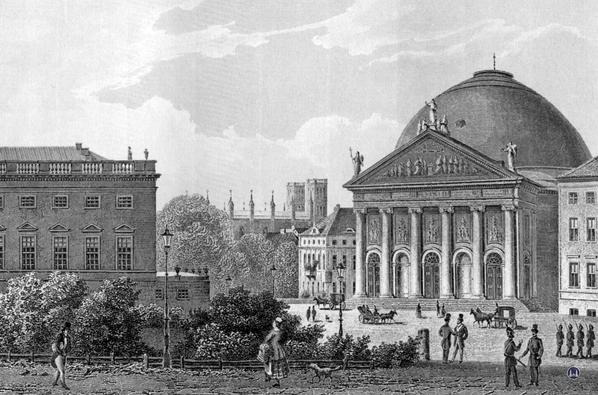 St.-Hedwigs-Kathedrale in Berlin. Historischer Stich.