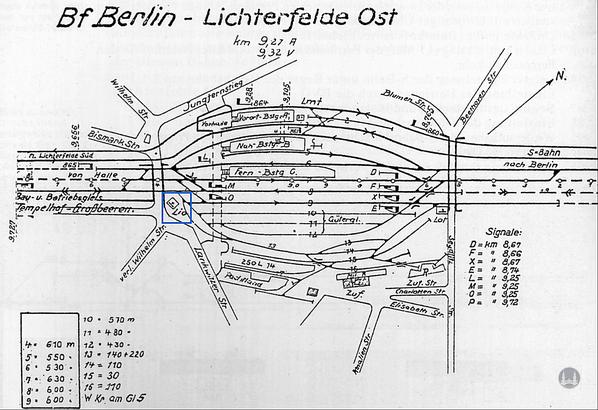 Stellwerk Lio in Berlin Lichterfelde - Ost. Gleisplan.