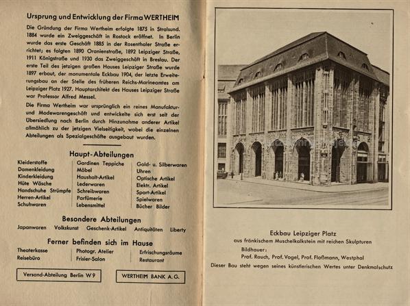 Warenhaus Wertheim Berlin Leipziger Platz. Auflistung der Abteilungen.