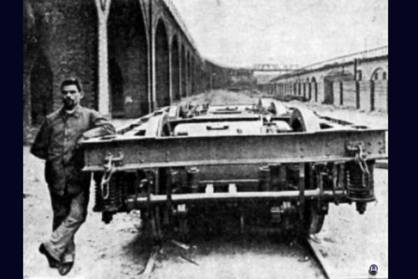 Drehgestell des Siemens Schnelltriebwagen, welcher auf der Militärbahn für Versuchsfahrten genutzt wurde.