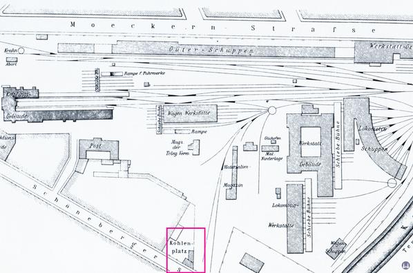 Plan des Anhalter Bahnhofs von 1871