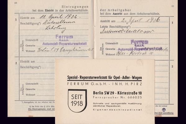 Gewerbehof Körtestraße 10 in Berlin - Kreuzberg. Arbeitsunterlagen von Helmut Jordan 1936.