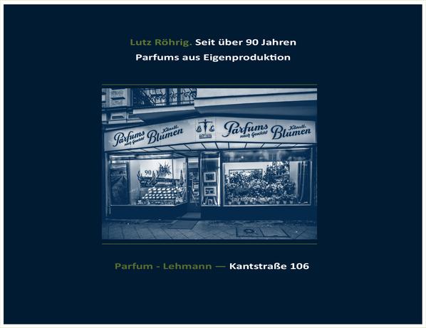 Parfums nach Gewicht in der Berliner Kantstraße. Titel.