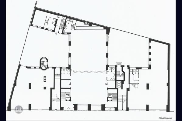 Bruno Taut Haus Berlin-Kreuzberg. Kottbusser Damm 2 -3. Grundriss des Erdgeschoss.