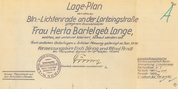Lortzingclub in Berlin - Lichtenrade. Planauszug.