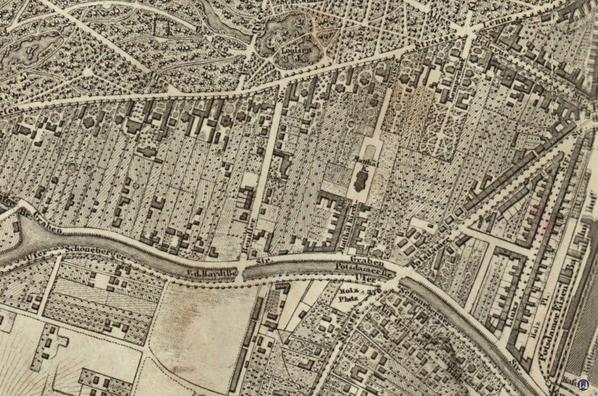Karte der Umgebung der St. Matthäuskirche von 1855.