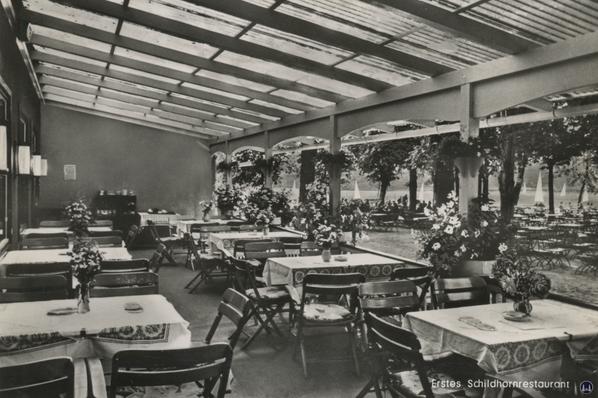 Schildhorn und Restaurant E. Brunow.