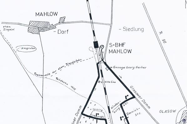 Karte der Anschlussbahn zur Ziegelei des Gutes Mahlow.