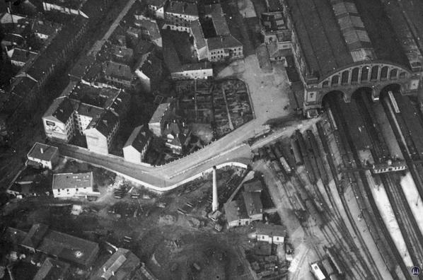 Luftaufnahme des Anhalter Bahnhofs von 1919