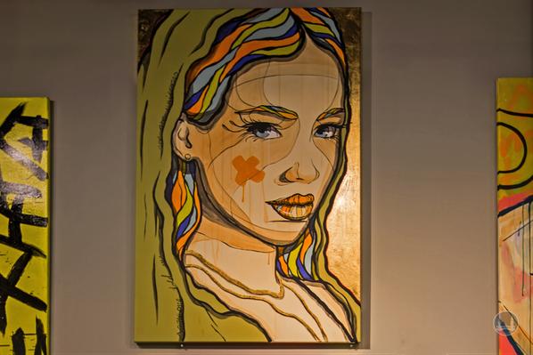 Pop Culture Studio in den Potsdamer Platz Arkaden. Zeichnung einer Dame von El Bocho.