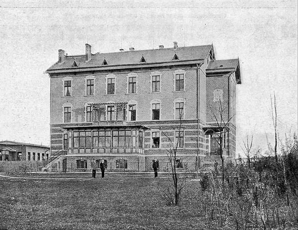 """Die Kuranstalt Berolinum an der Lankwitzer Leonorenstraße. Historische Abbildung des Gebäudes für """"Männlichen Pensionäre""""."""