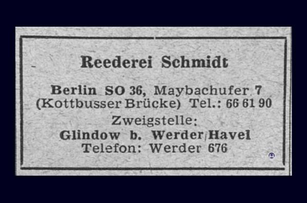 Anzeige der Reederei Schmidt 1950er Jahre.
