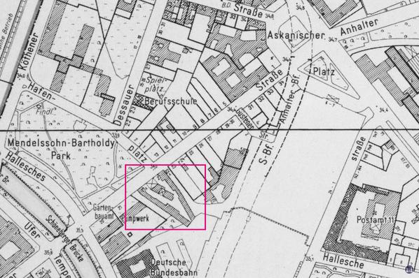 Lageplan des Garagengeländes an der Schöneberger Straße von 1987.