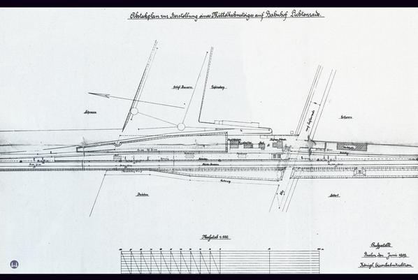 Der Bahnhof Lichtenrade. Gleisplan von 1909.