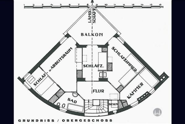 Bruno Taut, Blankenfelde - Mahlow. Grundriss des privaten Wohnhauses von Bruno Taut. 1. OG.