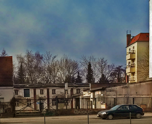 Berlin, Bauerngehöft Mariendorfer Damm 106. Die Hofanlage vor dem Abbruch.