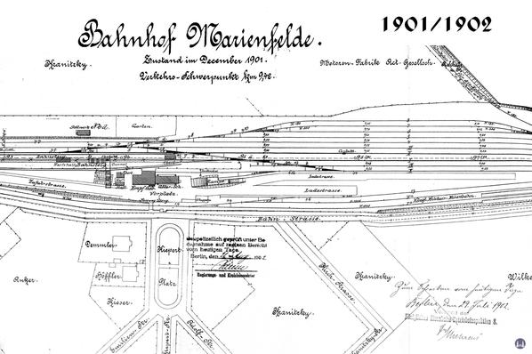Gleisplan des Bahnhofs Marienfelde von 1901/1902.