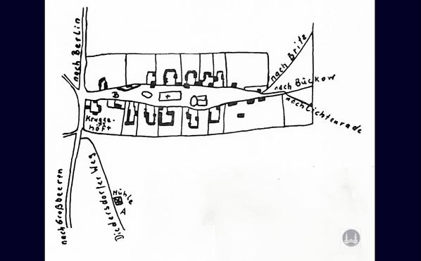 LageSkizze der ersten Marienfelder Mühle und des Müllerhauses