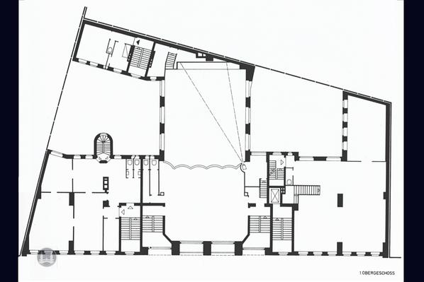 Bruno Taut Haus Berlin-Kreuzberg. Kottbusser Damm 2 -3, Grundriss des 1. OG.