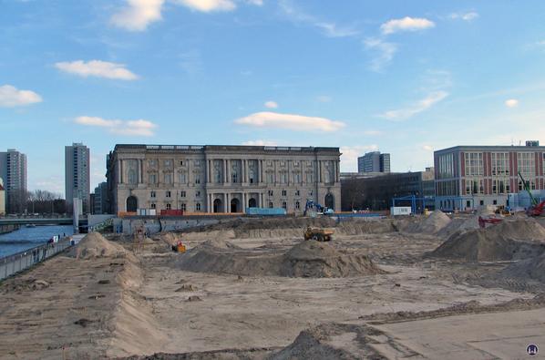 Das Berliner Schloss in Mitte. Baufeld nach Beräumung des Palastes der Republik.