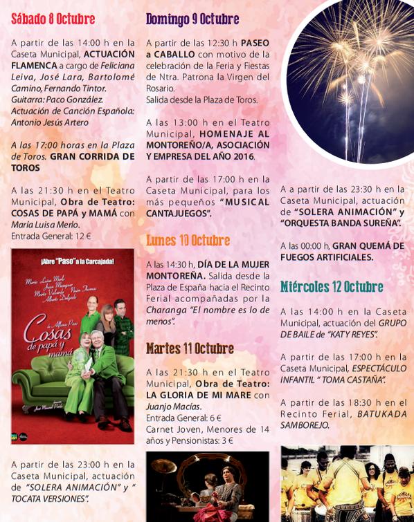 Feria y Fiestas de Montoro Programa