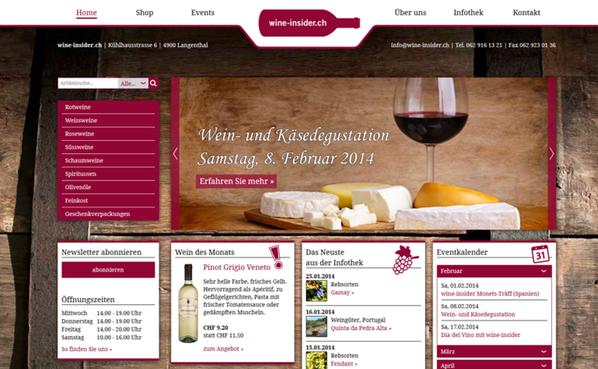 Attraktiv und aufgeräumt kommt die Homepage der wine-insider.ch daher.