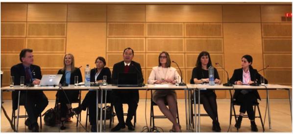 Marc Rotenberg (EPIC), Helen Dixon (DPC), Andrea Jelenik (EDPS), Nguyen Anh Tuan (BGF), Elizabeth Denham (ICO),  Valeria Milanes (ADC), and Gallia Daor (OECD)