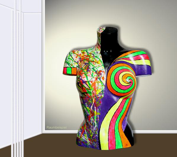 Torso 13 / 46, Skulptur, bunt, abstrakt, Art, Kunst, Malerei, Original, Unikat, Kunststoff, Acryl, Raumbeispiel
