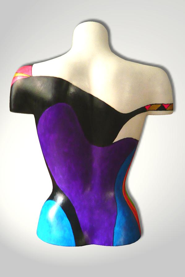 Torso 13 / 55, Skulptur, bunt, abstrakt, Art, Kunst, Malerei, Original, Unikat, Kunststoff, Acryl, Rücken, Gesicht