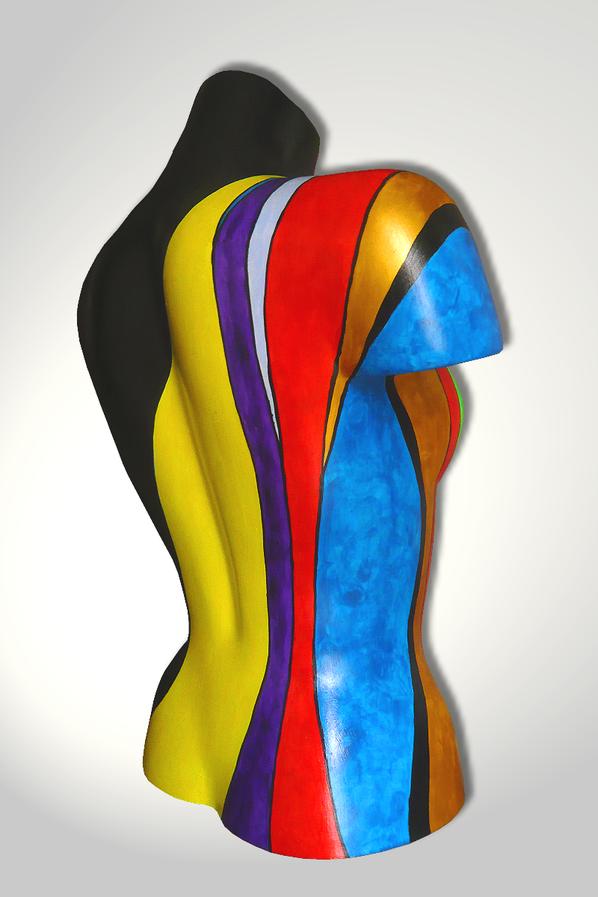 Torso 12 / 8, Skulptur, Kletterer, bunt, abstrakt, Art, Kunst, Malerei, Original, Unikat, Kunststoff, Acryl, Rücken