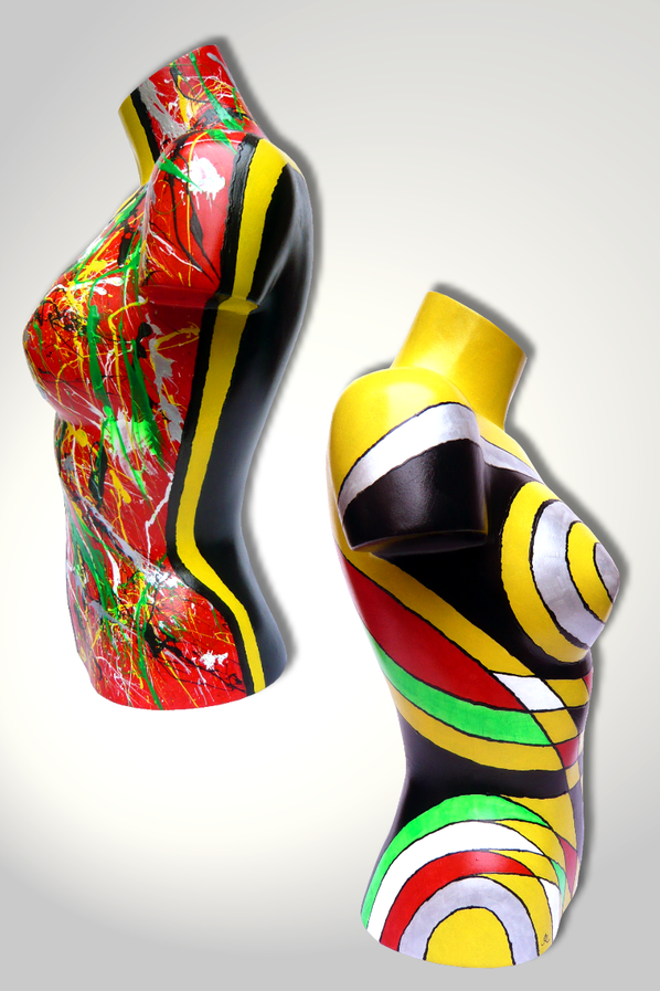 Torso 12 / 21, Skulptur, bunt, abstrakt, Art, Kunst, Malerei, Original, Unikat, Kunststoff, Acryl, Seite