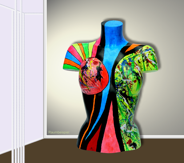 Torso 13 / 24, Skulptur, bunt, abstrakt, Art, Kunst, Malerei, Original, Unikat, Kunststoff, Acryl, Raumbeispiel