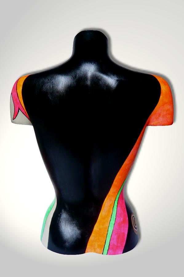 Torso 13 / 44, Skulptur, bunt, abstrakt, Art, Kunst, Malerei, Original, Unikat, Kunststoff, Acryl, Rücken