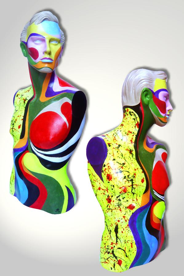 Torso 13 / 53, Skulptur, bunt, abstrakt, Art, Kunst, Malerei, Original, Unikat, Kunststoff, Acryl, Mann, mänlich, Seite