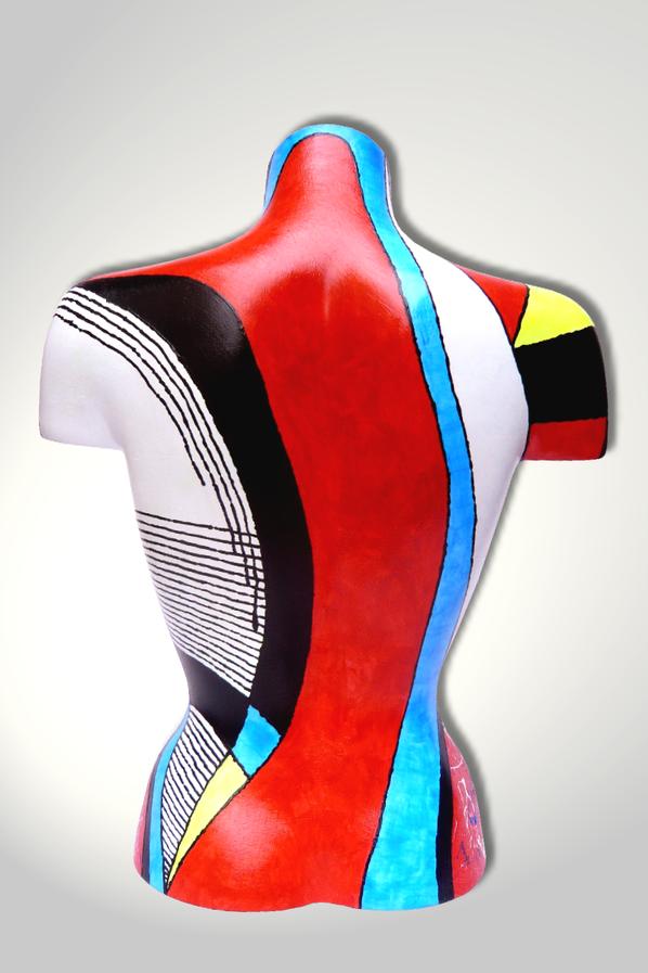 Torso 13 / 27, Skulptur, bunt, abstrakt, Art, Kunst, Malerei, Original, Unikat, Kunststoff, Acryl, Rücken
